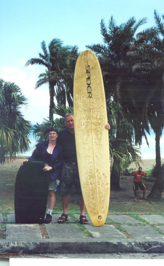 Jim and Coady went surfing with us as well.  The body board is almost as big as Coady...hahaha!